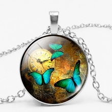 Hot! 2019 New Boutique Butterfly Pattern Glass Necklace Retro Silver Chain Jewelry Womens Sweater