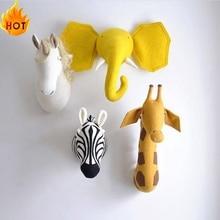 Photo-Props Animal-Head Swan Bedroom-Decor Wall-Hanging Felt Stuffed Giraffe Elephant