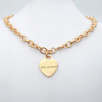 Sterling silver 925 classic popular original fashion rose gold heart shaped charm ladies necklace jewelry holiday gift