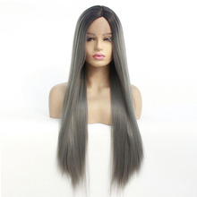 Dark Roots Ombre Grey Color Long Straight Synthetic Lace Front Wig For Black Women Glueless Heat Resistant Fiber Cosplay Wigs long glueless synthetic ombre light blue wig dark roots heat resistant natural looking wavy synthetic lace front wigs for women