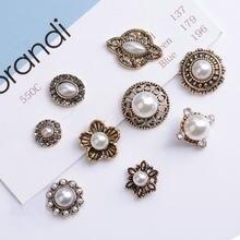 Alliage de strass, perles d'or, pendentif de feuille, boutons ornements de bijoux, boucles d'oreilles ras du cou, accessoires de bijoux à faire soi-même, 5 pièces/lot