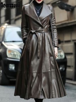 Nerazzurri Autumn long leather trench coat for women belt long sleeve skirted faux leather coat