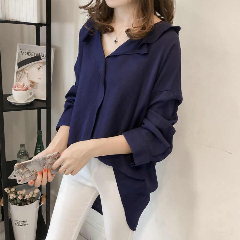 M-4xl свободные длинные рукава черные женские рубашки-топы и блузки 2019 плюс размер одежда для женщин Сплошной льняной топ рубашки для женщин