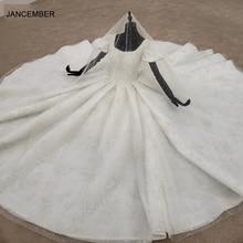 HTL1256 2020 plus rozmiar suknia ślubna kwadratowy dekolt bufiasty krótki rękaw wysadzane perłami luksusowe biały ślub sukienka de mariee nowe