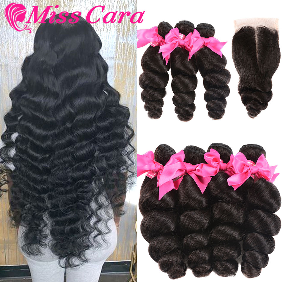 Miss Cara 4/5 Pcs A Lot Peruvian Loose Wave With Closure Human Hair 3/4 Bundles With Closure Remy Hair Bundles With Closure