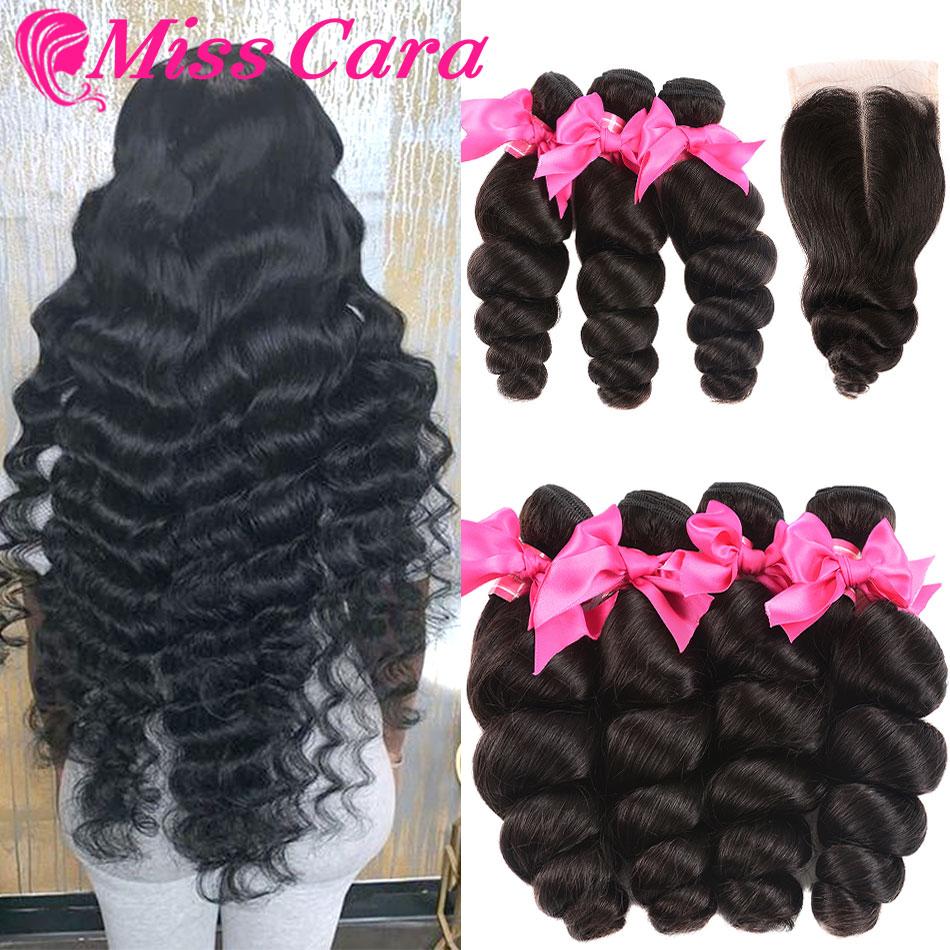 Miss Cara 4/5 Pcs A Lot Peruvian Loose Wave With Closure Human Hair 3/4 Bundles With Closure Remy Hair Bundles With Closure