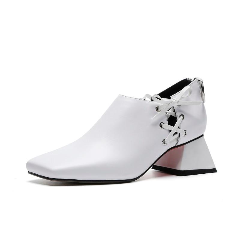Оригинальная модная обувь из натуральной кожи; женская обувь на шнуровке; Цвет черный, белый; обувь на высоком каблуке; обувь высокого качества с квадратным носком; женская обувь для зрелых женщин - 2