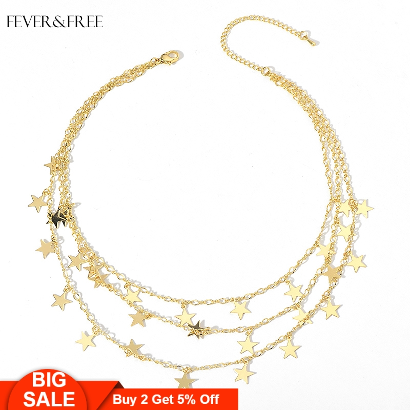 Fever&Free Romantic Women Jewelry Tiny Stars Necklaces Multilayer Choker Collar Necklace Statement Pendant Accessories