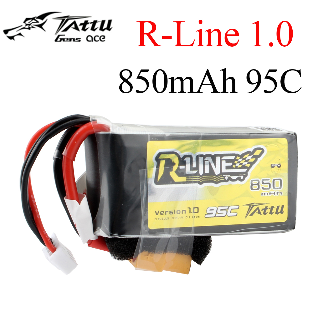 Tattu R-Line 1.0 LiPo 850mah 11.1V 14.8V 95C  3S 4S1P  Lipo Battery Pack With XT60 Plug For RC FPV Racing Drone Quadcopter