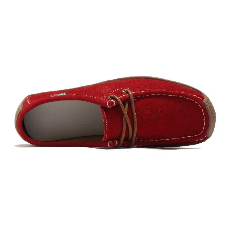 Marke Komfortable 2019 Faulenzer Frauen Wildleder Leder Flache Plattform Damen Elegante Schuhe Frau Frauen Casual Schuhe Größe 35-42