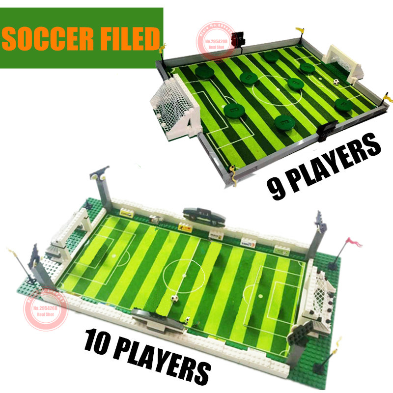 Soccer Field World Team Player Fit Lepining Football Figures City Model Building Bricks Block Toys Gift Kid Winning Cup Birthday image