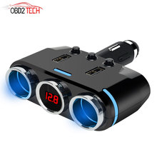 Car Cigarette Lighter Socket Splitter Plug LED USB Charger Adapter 3.1A 2 USB Port Autos Ac