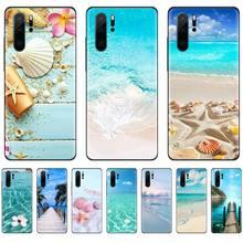 Clear Sea Sky Sandy beach black Phone Case Hull For Huawei P9 P10 P20 P30 Pro Lite smart Mate 10 Lite 20 Y5 Y6 Y7 2018 2019 starry sky space moons volcano soft black phone case for huawei p9 p10 p20 p30 pro lite smart mate 10 lite 20 y5 y6 y7 2018 2019