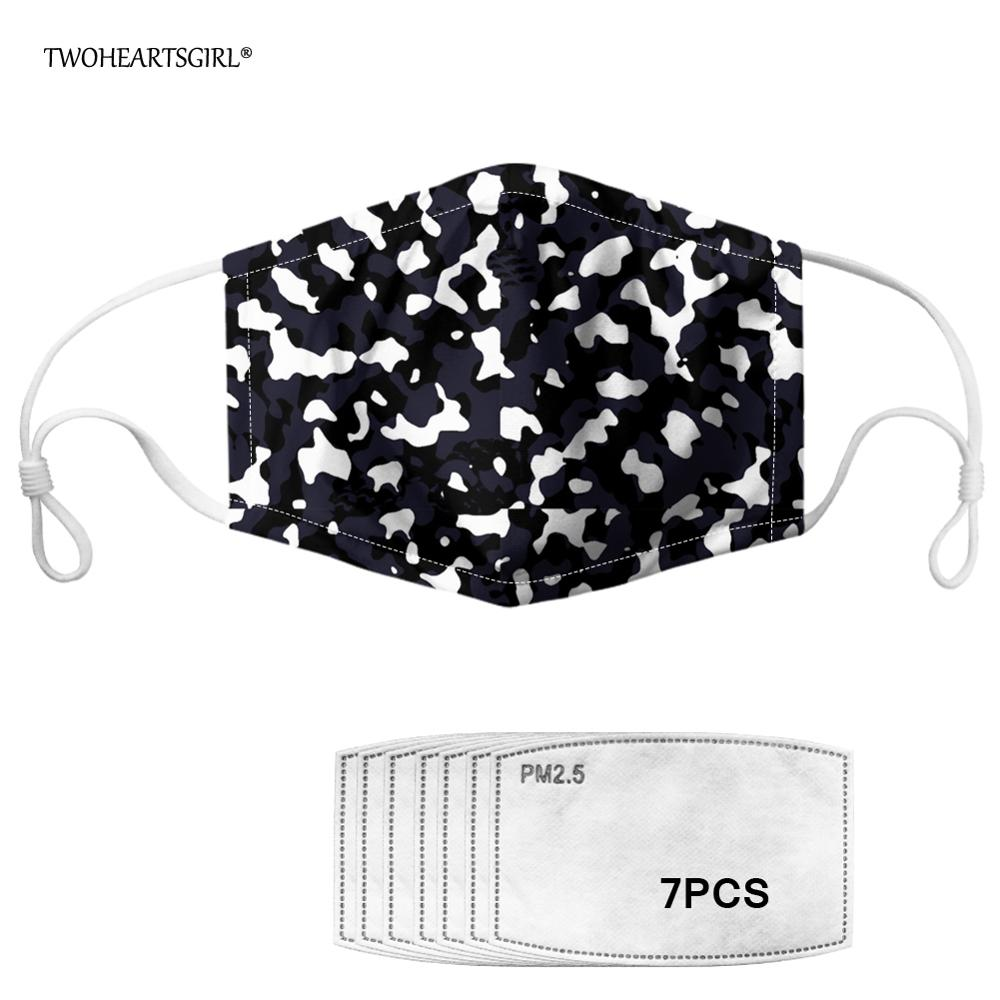 Twoheartsgirl Fashion Unisex Camouflage PM2.5 Mouth Mask Anti-Dust Anti Pollution Mask With Activated Carbon Filter Face Mask