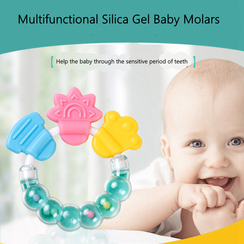 Food Grade Silicone Teethers Baby Ring bell silicone gum Chew Charms Kids Teething Gift Toddler Toys