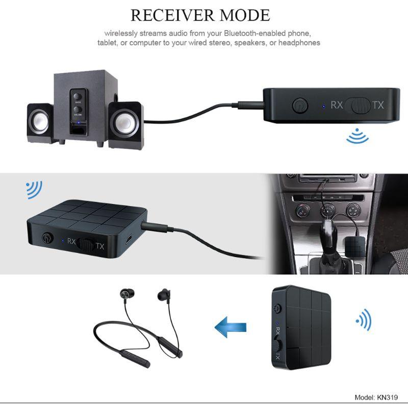 Adaptador de música del transmisor del receptor de Bluetooth 5,0 recargable para el ordenador del coche de la TV MP3 C90F - 4