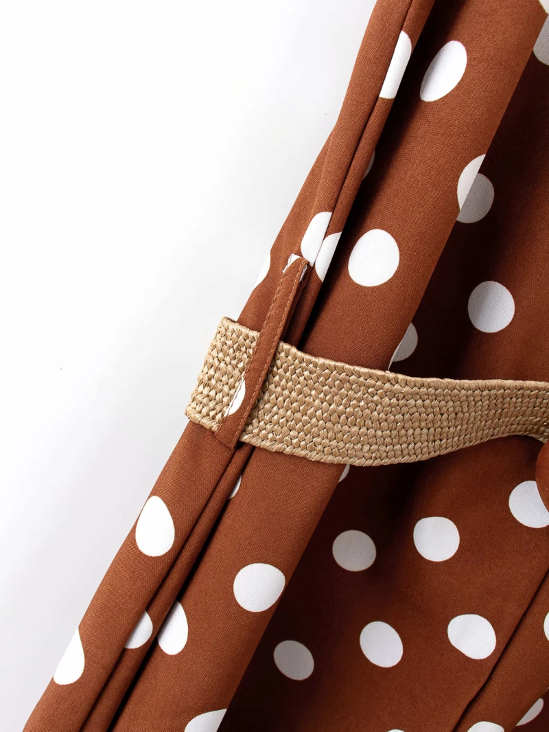 H44e11e4bea4a463c84584d3ae7cbf5d7t - Elegant women polka dots looses jumpsuits with belt summer fashion ladies vintage boho rompers female chic jumpsuit girls