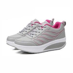 Image 5 - كاوكوم بالجملة أسود المرأة أحذية رياضية المرأة وسادة هوائية سميكة القاع الاحذية حذاء كاجوال أحذية منصة CYL