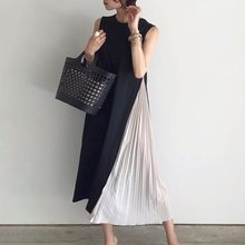 Pleated Stitched Casual Leisure Dress 2019 Hot Sale Japan Style  Fashion Elegant Sleeveless Fake Two Pieces Student Maxi Dresses