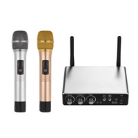 Wireless Microphone System with 2 Cordless Mics and Receiver Box Live Equipment Optional 25 Channels UHF Band for Karaoke