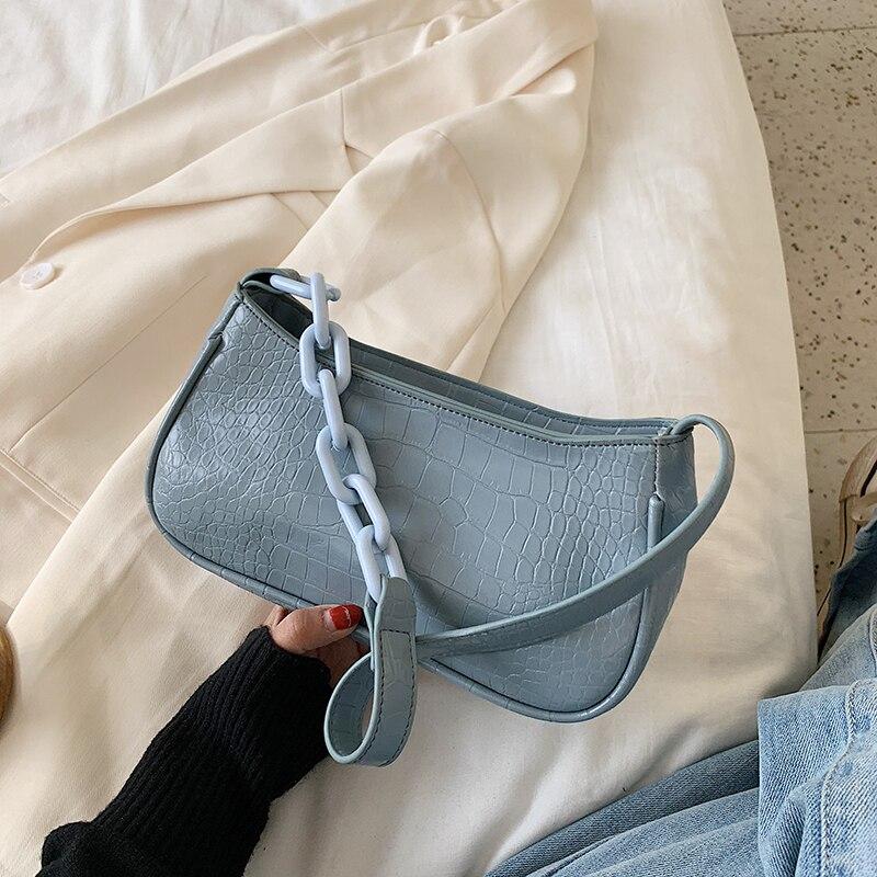 Stone Pattern PU Leather Shoulder Bags For Women 2020 Chain Design Crossbody Handbags Lady Travel Fashion Hand Bag