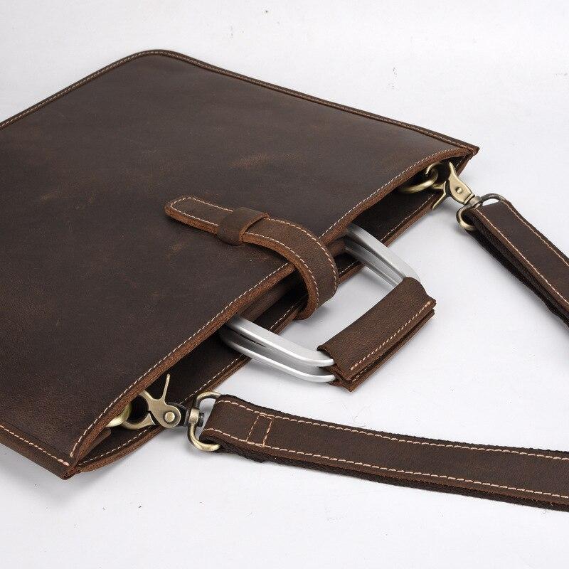 GO-LUCK Brand Crazy Horse Genuine Leather Business Briefcase Top-handle Handbag Men Slim Messenger Bag Crossbody Shoulder Bags
