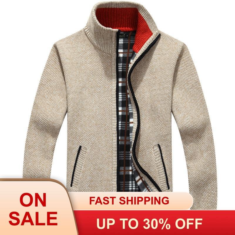 Зимний толстый мужской вязаный свитер, пальто, белый кардиган с длинными рукавами, флисовый, на молнии, мужская повседневная одежда больших ...