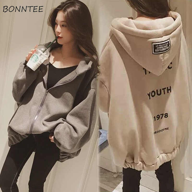 Hoodies Vrouwen Brief Gedrukt Losse Hooded Dikkere Warm Sweatshirts Studenten Plus Fluwelen Lange Mouwen Zip-up Womens All-Match Chic