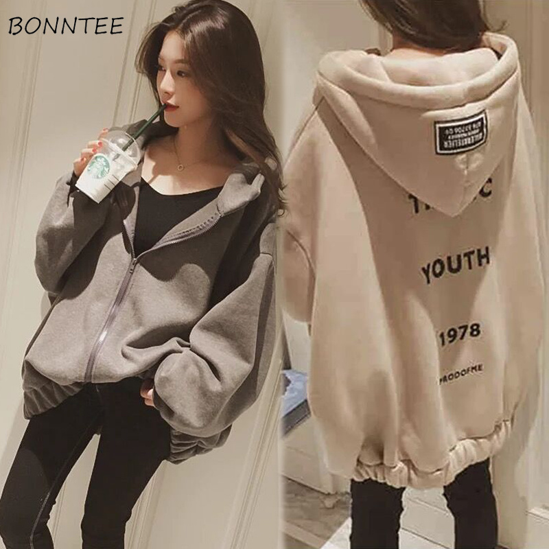 Hoodies Women Letter Printed Loose Hooded Thicker Warm Sweatshirts Students Plus Velvet Long Sleeve Zip-up Womens All-match Chic