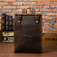 MAHEU Vintage Leather Travel Backpack Men Women Packsack Genuine Leather Knapsack Student School Bag Vintage Rucksacks 14