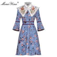MoaaYina Fashion Designer Runway dress Spring Summer Women Dress Floral-Print Dresses+Pearl Embroidery Lace shawl