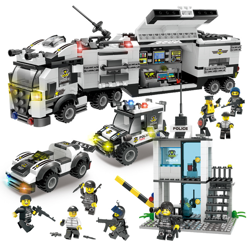 Image 5 - 951pcs City Police 60141 Mobile Police Station Building Blocks Brick SWAT City Truck Car Ship Helicopter Legoness Model Toy Gift-in Blocks from Toys & Hobbies