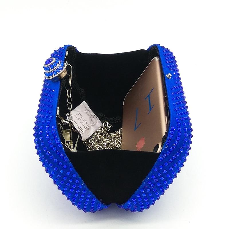 Image 5 - Boutique De FGG Royal Blue Rhinestones Clutch Women Evening Bags Bridal Handbag Wedding Party Crystal Purse Chain Shoulder Bagchain shoulder bagshoulder bagsevening purse -
