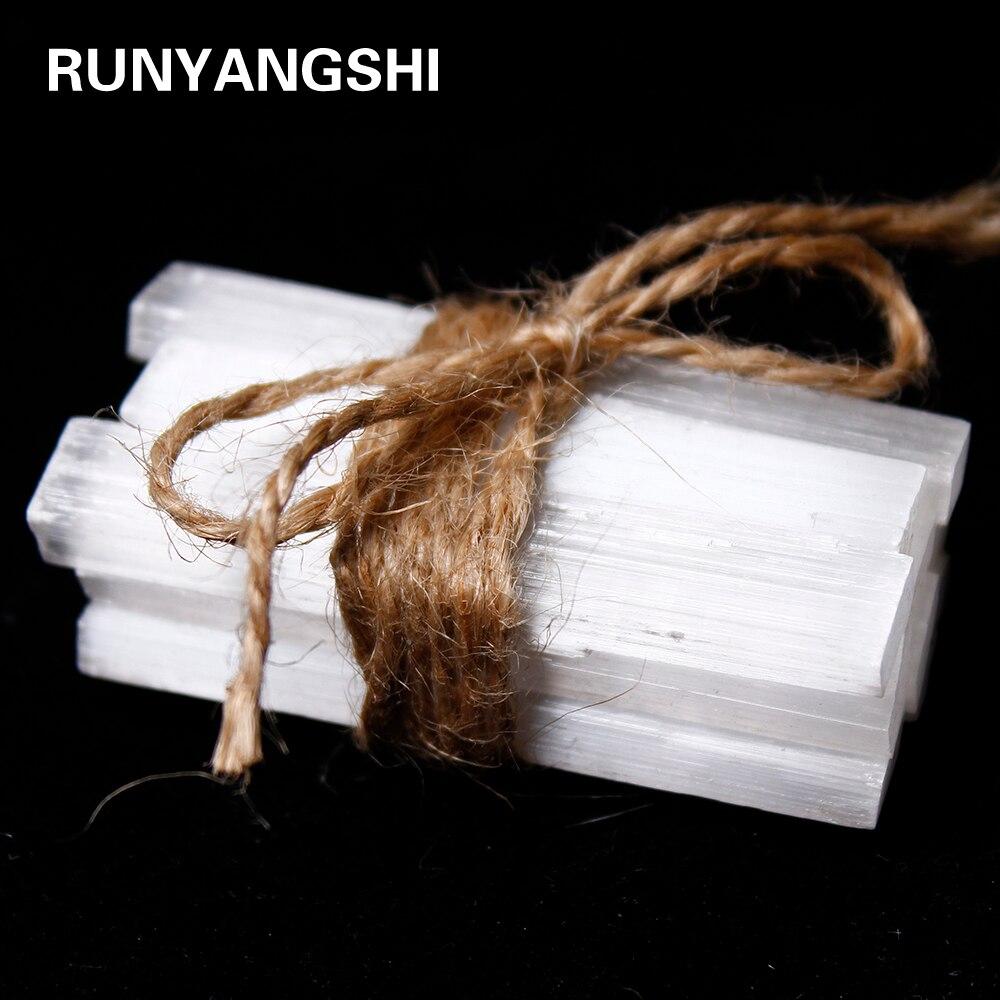 Runyangshi 10 adet doğal Selenite kristal sopa cips alçı beyaz kuvars kaba mineraller numune noktası şifa taşı