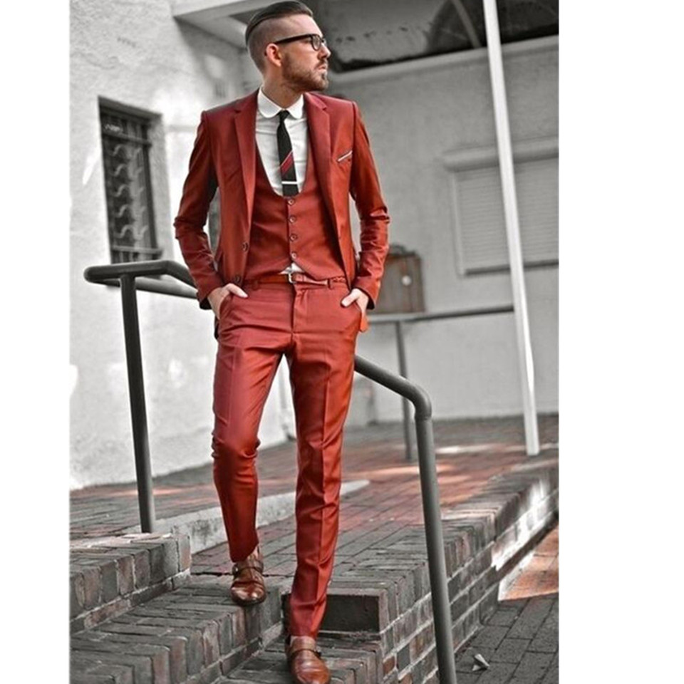 New Men's Suit Smolking Noivo Terno Slim Fit Easculino Evening Suits For Men Orange Blazer Skinny Tuxedos Casual Prom Party