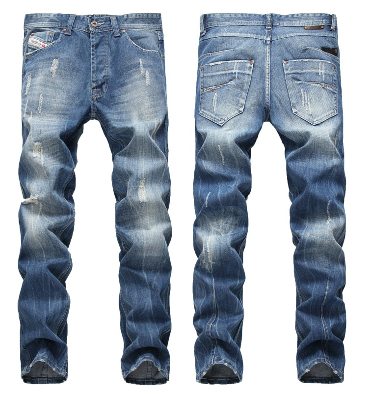Europe And America Hot Selling Men Straight Slim With Holes Beckham Celebrity Style Pants Button Large Size Pants