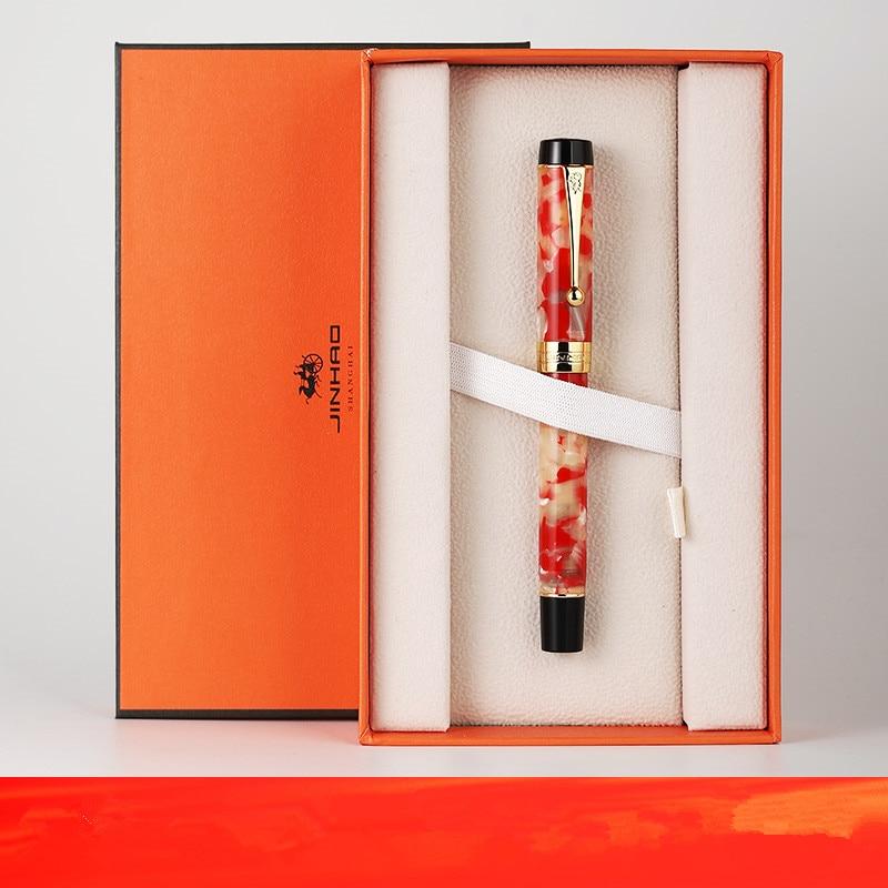 Jinhao 100 Resin Fountain Pen 18KGP Medium / Bent Nib 0.6 /1.2mm Golden Clip With Converter Business Office Gift Pen