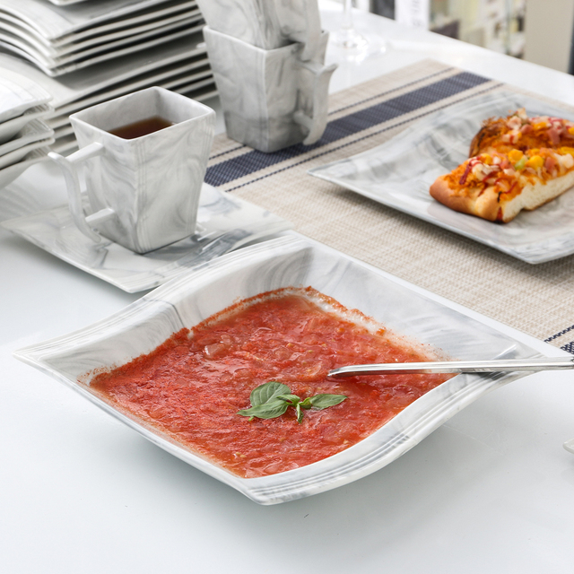MALACASA Flora 30-Piece Marble Porcelain Dinnerware Set with 6*Dinner Plate,Dessert Plate,Soup Plate,Cups&Saucers Tableware Set 4