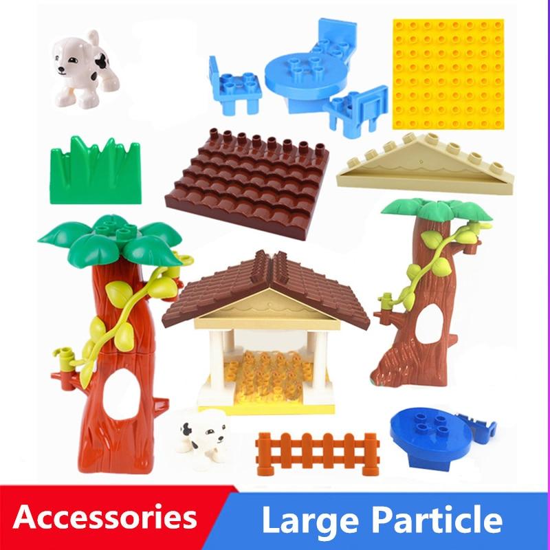 Строительные блоки большого размера, игрушечный динозавр, автомобиль, дерево, дом, аксессуары, совместимы со сборкой, детские игрушки, подар...