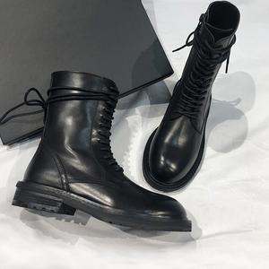 Image 4 - 2020 New Hot Black Soft Leather Women Ankle Boots Lace Up Casual Flat Shoes Woman Short Booties Riding Boots Flats
