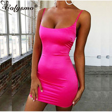 Colysmo Stretch Mini Satin Kleid Frauen Sexy Straps Slim Fit Bodycon Party Kleid Neon Grün Rosa Kleid Sommer Dreses Dual -layered(China)