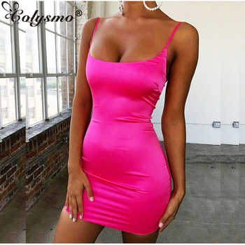 Colysmo Stretch Mini Satin Dress Women Sexy Straps Slim Fit Bodycon Party Dress Neon Green Pink Dress Summer Dreses Dual-layered - DISCOUNT ITEM  35% OFF All Category