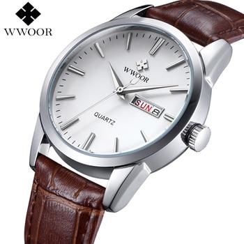 цена на WWOOR Luxury Brand Men's Watch Date Day Genuine Leather Strap Sport Watches Male Casual Quartz Watch Men Famous Wristwatch