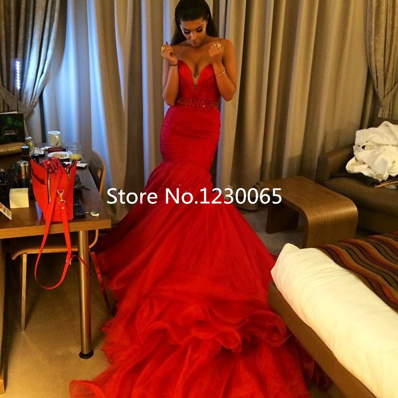 Red Mermaid Prom dress Formal evening prom Gown for Women Sweetheart Beading Waist Ruffles Party Long Mother Bride Dresses