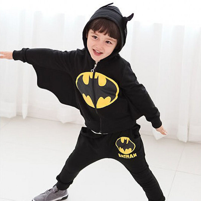 Kids Outfit Halloween-Costumes Batman Suit-Set Coat Pant Winter Clothes Party Boys Gift