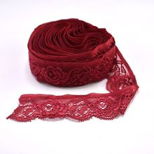 10Yards/lot Wine Red Elastic Lace Trims for Sewing Clothing Wedding Decorations 24mm Stretch Fabric Ribbon Embroidery DIY