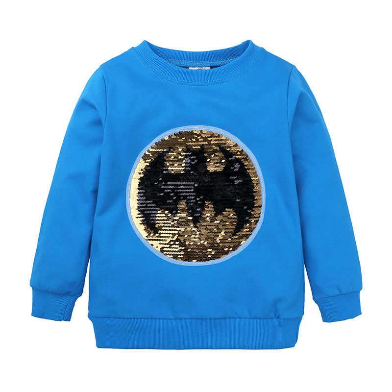 아동 의류 슈퍼 히어로 스팽글 색상 변경 스웨터 아기 소년 소녀 패션 까마귀 가을 어린이 만화 배트맨 운동복