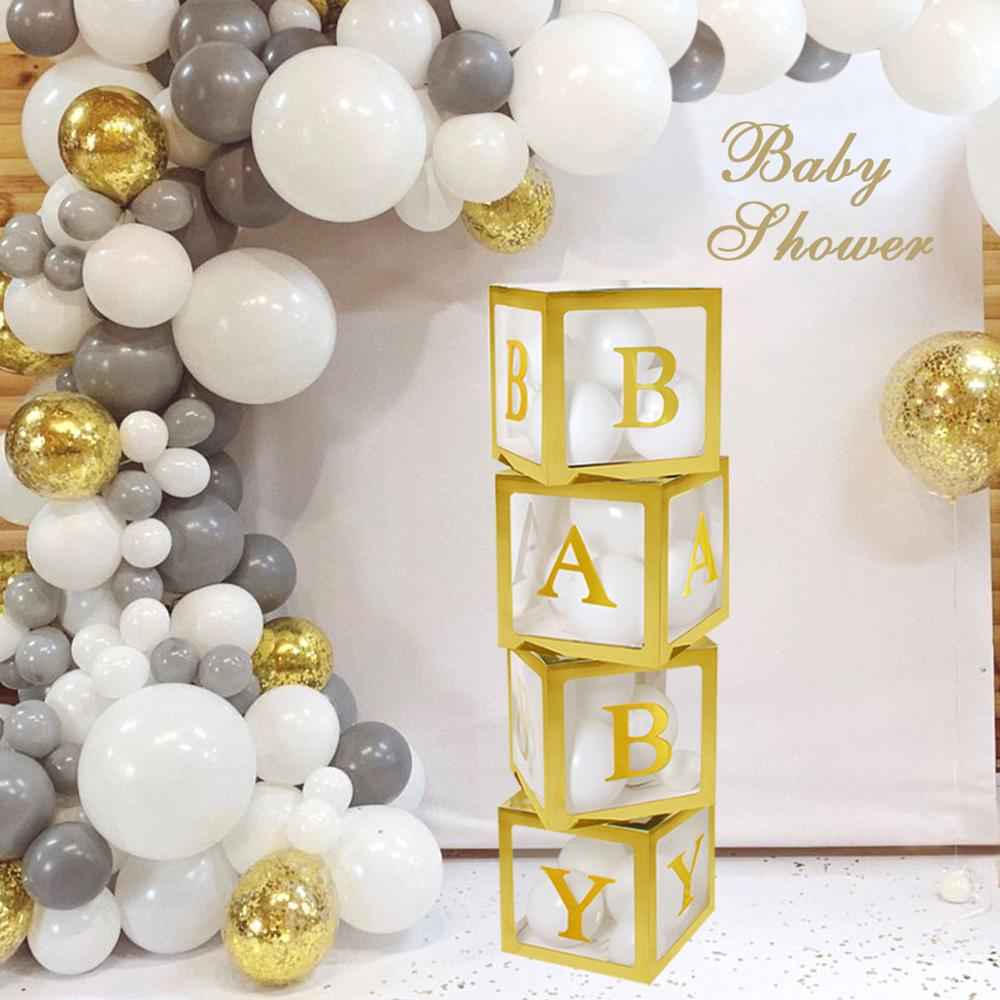 Gold Transparent Name Box Letter Balloons Happy Birthday Party Decoration Kids Balon First 1 St Birthday Balony BabyShower Decor