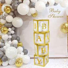 Купить с кэшбэком Gold Transparent Name Box Letter Balloons Happy Birthday Party Decoration Kids Balon First 1 st Birthday Balony BabyShower Decor