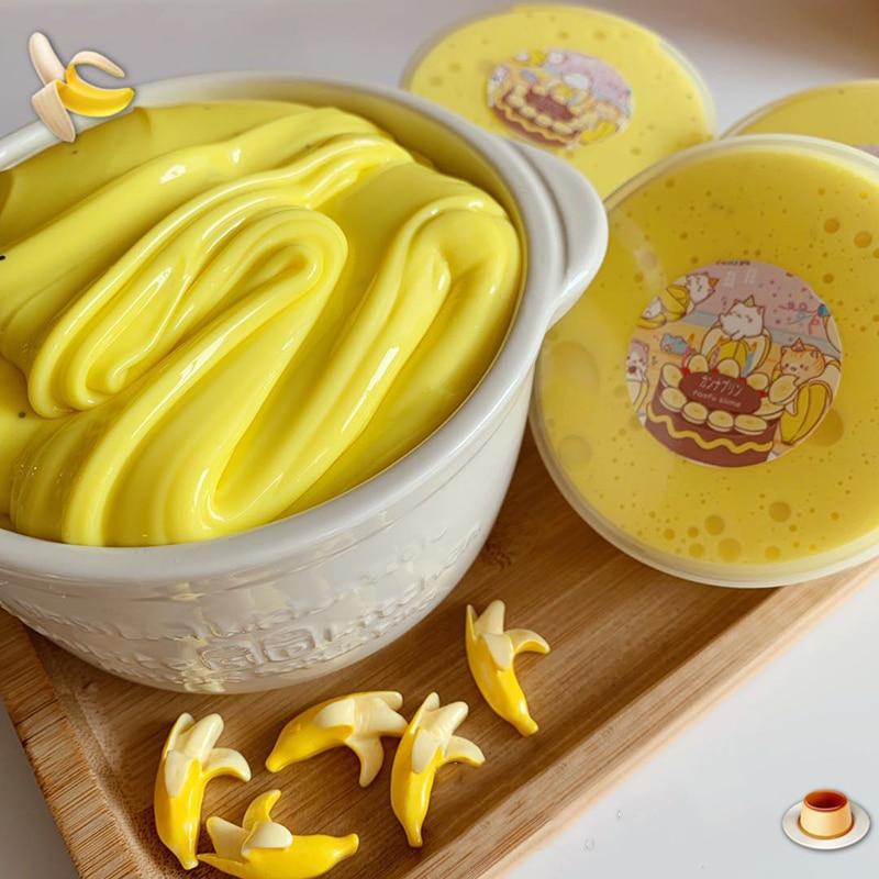 Boxi 150ml Banana Floam Slime Toys New Cute Anti-Stress Education Kawaii Yellow Soft Clear Slime Birthday Gift For Kids Adults